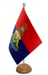 Royal Artillery Regiment Desk / Table Flag with wooden stand and base